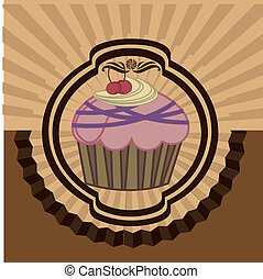 cup cake over grunge background  vector illustration