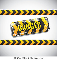 danger signal over gray background vector illustration