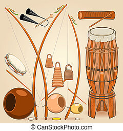 Brazilian Capoeira Music Instruments Such as Berimbau,...