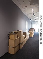 Moving to new house - Heap of cardboard boxes, moving to new...