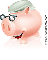 Pension plan savings concept, a piggy bank dressed as a...