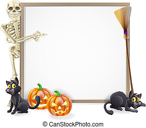 Halloween Skeleton Sign - Halloween sign or banner with...