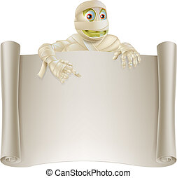 Mummy Halloween Banner Scroll - An illustration of a...