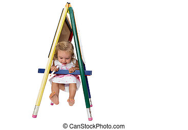Small girl swinging on a signboard