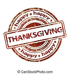 Happy Thanksgiving - Grunge Rubber Stamp