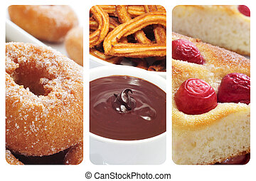 spanish pastries collage - a collage with three different...