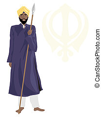 sikh temple guard - an illustration of a smart sikh temple...