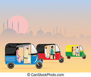 tuk tuk traffic - an illustration of three colorful asian...