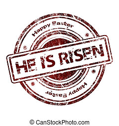 "He is risen - Grunge Rubber Stamp ""He is risen"""