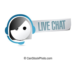 live chat illustration design over a white background