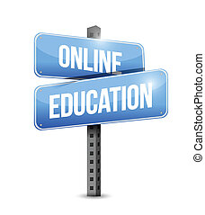 online education road sign illustration design