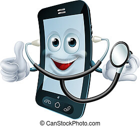 Cartoon phone character holding a stethoscope - Illustration...