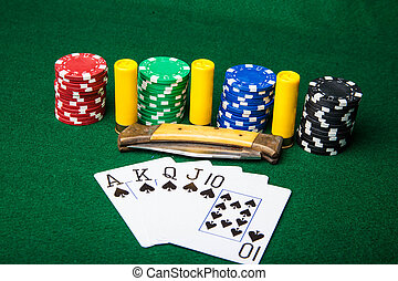 Royal Flush with chips and ammo