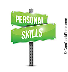 personal skills road sign illustration design over a white...