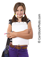 teenage girl with clipboard and pencil smiling, isolated on...