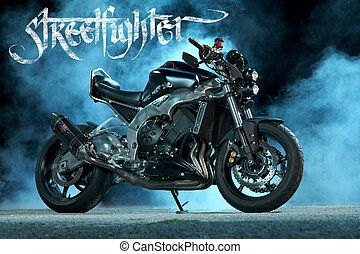 custom motorbike - studio photography of custom motorbike