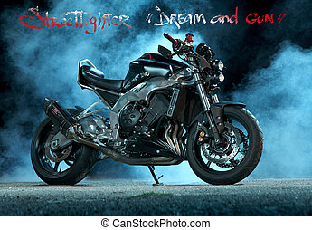 custom motorcycle - studio photography of custom motorcycle...
