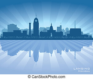 Lansing Michigan city skyline vector silhouette illustration