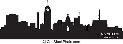 Lansing Michigan city skyline vector silhouette - Lansing...