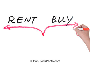 Rent versus buy concept on white board