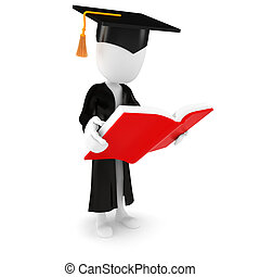 3d man student and book on white background