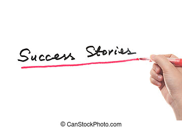 Success stories words written on white board