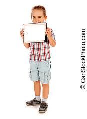 Little boy showing blank tablet pc