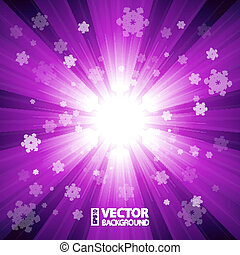 Purple color burst of light with snowflakes