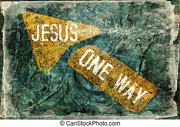JESUS ONE WAY - Religious Background in grunge style