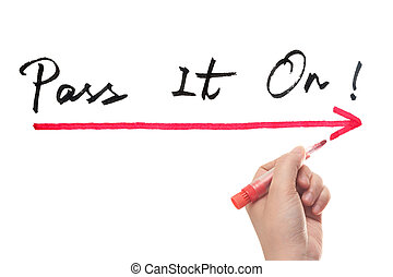 Pass it on words written on white board