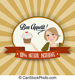 retro wife illustration with bon appetit message, vector...