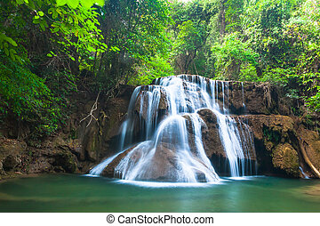 Waterfall in National Park , Kanchanaburi Province , Thailand