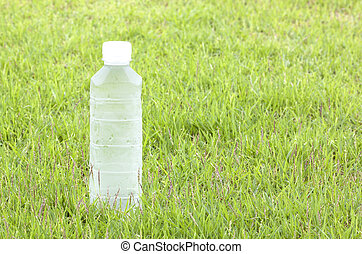 Plastic water bottles cool, thirst-quenching. Background of grass