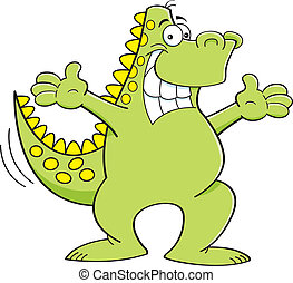 Cartoon dinosaur with extended arms - Cartoon illustration...