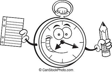Cartoon watch holding a paper and p