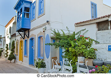 Beautiful Stone Street in Alacati izmir,Turkey
