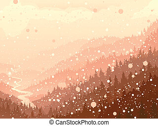 Wood in the morning snow - Vector illustration of wild...