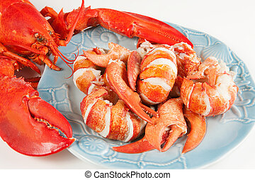 Lobster meat in a plate
