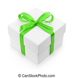 white textured gift box with green ribbon bow, isolated on...