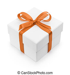 white textured gift box with orange ribbon bow, isolated on...