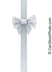 silver ribbon bow vertical, isolated on white