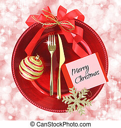 Red Christmas plate on elegance background