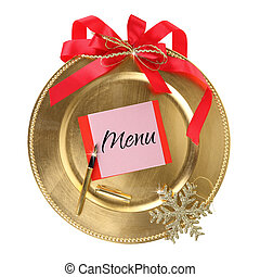 Golden Christmas plate isolated on white background