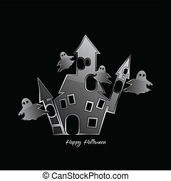 Castle with ghosts - Abstract Design - castle with ghosts on...