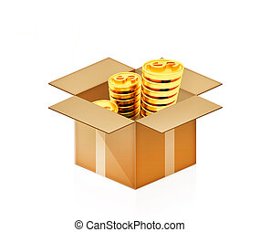 Gold dollar coins in cardboard box on a white background