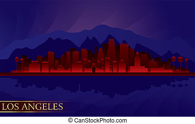 Los Angeles night city skyline detailed silhouette. Vector...