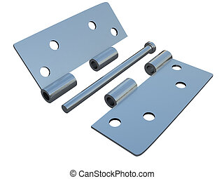 assembly metal hinges on a white background
