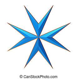 Maltese Cross Isolated on White, 3D Render