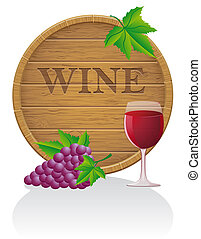 wooden wine barrel and glass vector illustration EPS10...