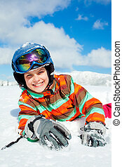 Girl on skis. - Portrait of girl on skis in soft snow on a...